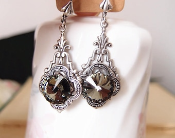 Swarovski midnight crystals-aged silver brass-art deco-dangle-Victorian-bridal earrings
