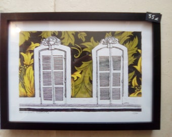 "Framed drawing ""False Sequence"" series 30x40cm, Poster, ready to hang"