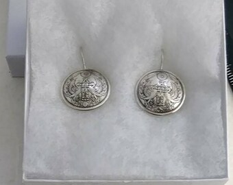 Silver Vintage Japanese Coin Birds Button