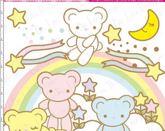 Bear Digital Clipart(A016)/Star/Cloud/Moon/Rainbow/KAWAII clip art/ INSTANT DOWNLOAD