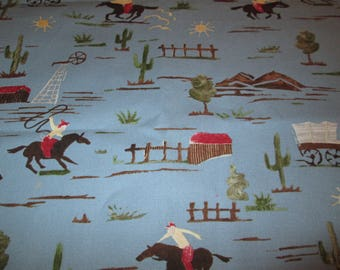 Western Cowboy on Blue 28 inches by 54 inches  Cotton Fabric Sewing Quilting Supplies