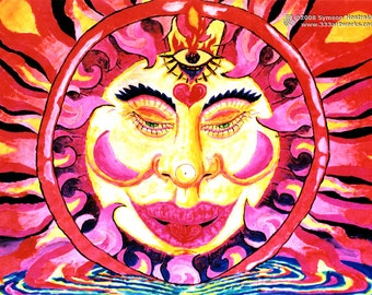 Chillin Sun UV Black Light Fluorescent & Glow In The Dark Phosphorescent Psychedelic Psy Goa Trance Art Postcard