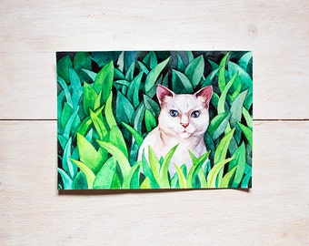 White cat in green grass original watercolor painting, animal art, home decor for cat lovers