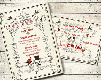 Lucretia - Vintage Victorian Skull Couple Printable DIY Wedding Invitation Suite - Digital Download - Customized