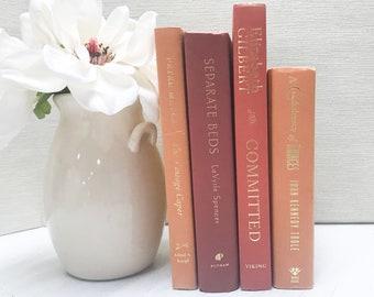 Orange Decorative Books for Shelf Decor, Fall Decor