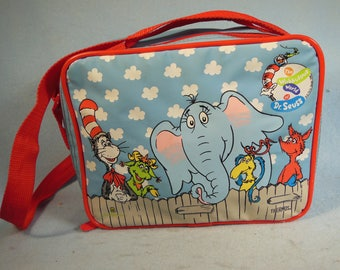 Vintage-1996-Dr. Suess -Lunch Bag-With All The Dr.Suess Characters-Vinyl