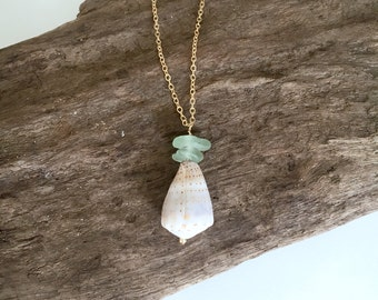 Sea Glass and Cone Shell Pendant Necklace, Gold Fill