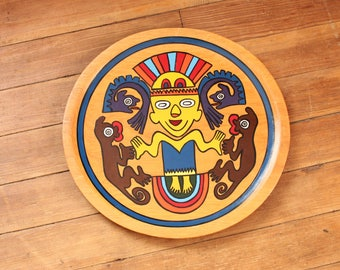 The Primitive Fertility God, hand painted wooden wall hanging from Panama 1974 . Cocle Indian Culture . vintage folk art wall decor