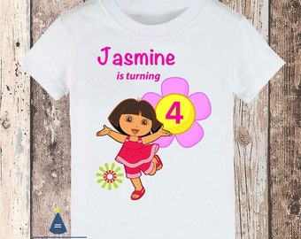 Personalized Dora Birthday Party T-shirt - with name and age