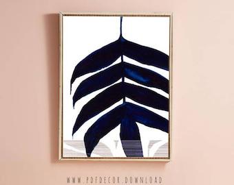 Navy Blue Leaf Art, Blue Watercolor, Navy Blue Wall Art, Abstract Print, Art, Modern Art, Painting, Navy Blue, Blue Art, Digital Download