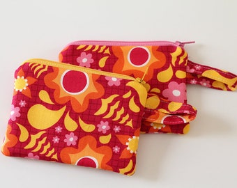 Pink zipper pouch, Coin purse, Minimalist pocket wallet, Change purse, cash wallet, mini, earbud case, modern floral happy sunshine bag