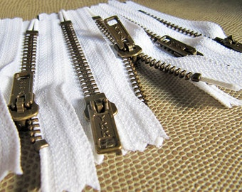 3inch - White Metal Zipper - Brass Teeth - 6pcs