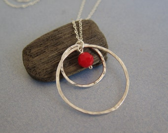 Double Circle Love Charm Necklace with Swarovski Ruby Birthstone, hammered and textured, custom order