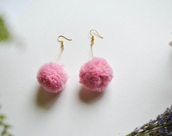 Pom Pom Earrings on Gold Posts in Pink