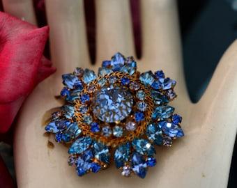 Rhinestone Brooch Signed Austria, Most Popular Gift Item, Blue, Lavender Rhinestones, Trending Jewelry