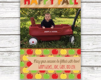 Fall Photo Greeting Card, Happy Fall Y'All Card, Apple Photo Greeting Card, Autumn Card, Halloween Card, Holiday Photo Greeting Card