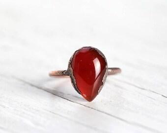 Carnelian Ring - Electroformed Copper Jewelry - Polished Orange Stone Ring