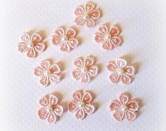 """Venise Flower Appliques. Small Pink Flower Appliques. 1"""". Set of 10."""