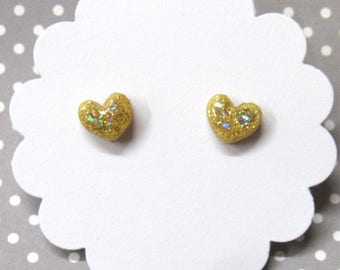Gold Heart Earrings, Glitter Heart Earrings, Petite Dainty Earrings, Everyday Earrings, Nickel Free Posts, Hypoallergenic, Stud Earrings