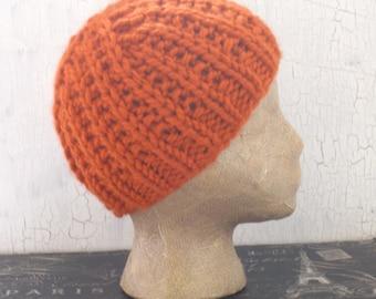 Women's Beanie, Women's Hat, Knit Hat, Knit Beanie, Orange Knit Hat, Orange Knit Beanie, Winter Accessory, Orange Beanie, Ribbed Beanie