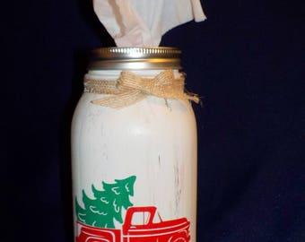 One Quart Mason Jar Kleenex Dispenser, Merry Christmas, Holiday Themes