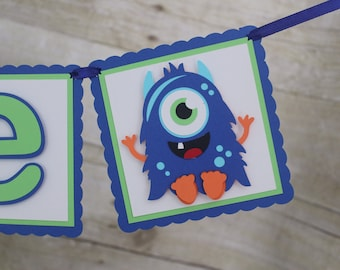 Little Monster First Birthday Banner, High Chair Banner, One Banner, Photo Prop