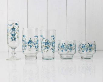 ARCOPAL drinking glasses set - France, Veronica, Myosotis, Forget me not, Blue flowers, Retro kitchen decor, French home decor, For 2 , E017