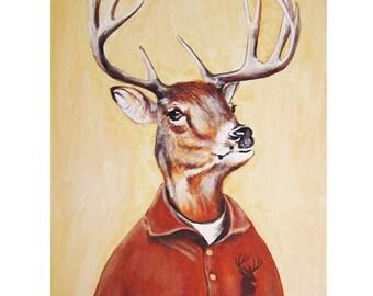 Hipster Deer Print,  Antler, Stag, Deer Art, Deer Art Print, Deer Artwork, Wall Decor, Wall Art, Deer Wall Hanging, Gift For Men, Stag Head
