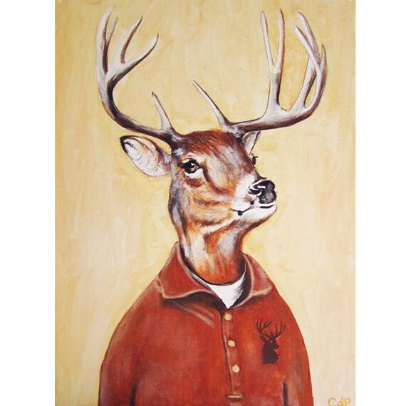 Hipster Deer Print Antler Stag Deer Art Deer Art Print