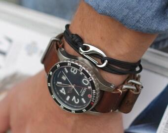 Men's Jewelry - Rope bracelet - naval adjustable bracelet for men - jewelry bracelets, hook bracelet, naval bracelet - rope and hook