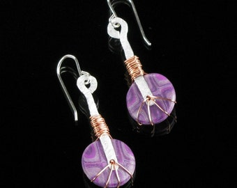 Tribal Dangle Earrings, Purple Polymer Clay Earrings, Unique Tribal Jewelry, Unique Jewelry Gift for Her, Gift for Women, Girlfriend Gift