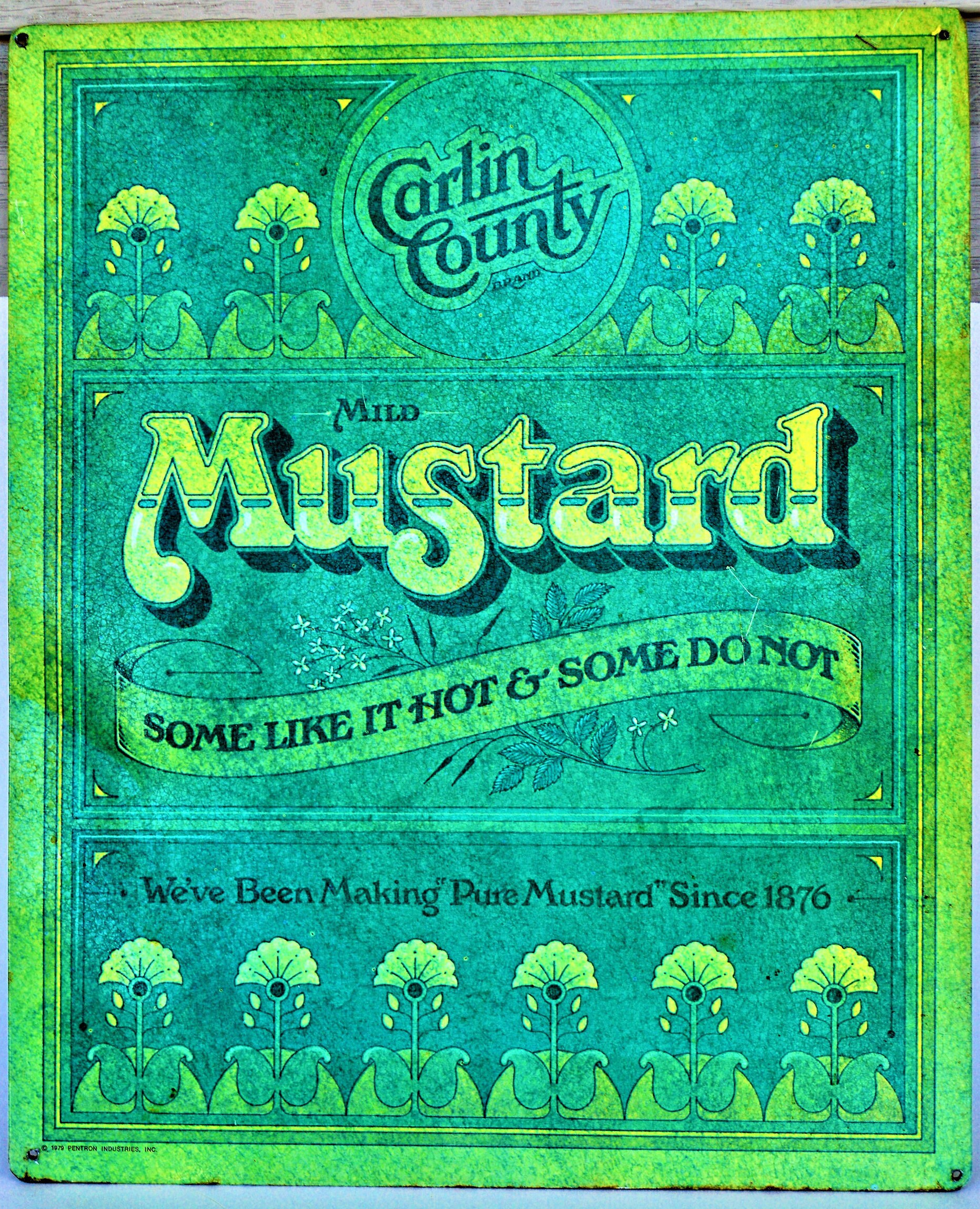 Vintage Carlin County Mild Mustard Stove and Counter Mat Sign