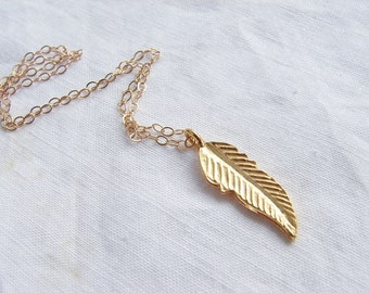 Gold Feather Necklace. Vermeil Charm on 14K GF Chain. Bridesmaid Gift. Simple Modern Jewelry by petitblue