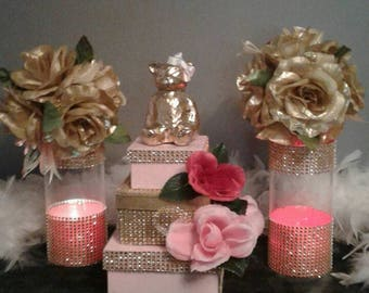 Pink and Gold 3 tier Cake Box/ Centerpiece/ Home Decor