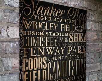 Baseball Stadiums Typography word art on gallery wrapped canvas by Stephen Fowler