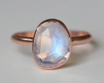 Rainbow Moonstone Ring in 14k Rose Gold - Moonstone Ring - Free Form Gem - Unique Statement Ring - Free Form Rose Cut - Blue Flashy Gemstone