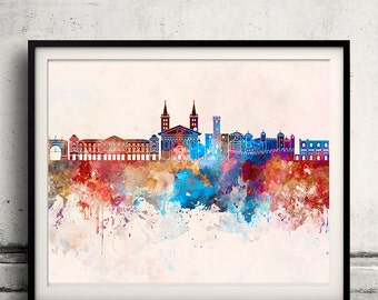 Aosta skyline in watercolor background - Poster Digital Wall art Illustration Print Art Decorative - SKU 2005