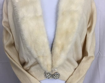 REDUCED PRICE! Fur collar sweater 50s ivory cashmere rhinestone buttons Vintage S/M