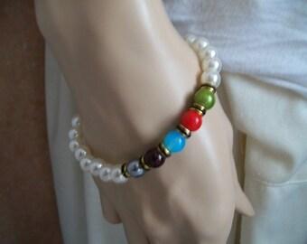 very pretty white and multicolor bracelet