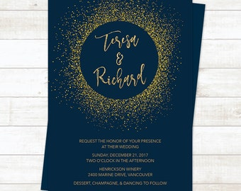 Navy Blue Gold Wedding Invitation Belly Band Metallic