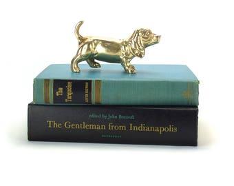 Vintage Brass Basset Hound or Dachshund Figurine - Mid Century Gold Hound Puppy Nursery Kids Decor Paperweight - Doxen Doxie Dog Lover Gift