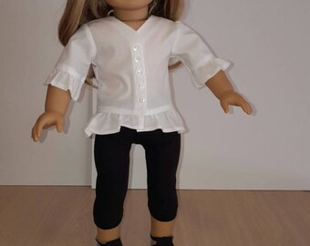 "White Ruffled Tunic With Black Leggings For AG Doll Or Any 18"" Soft-Bodied Doll."