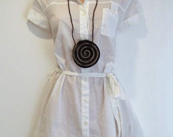New Women's Vintage TU Cap Sleeve Longline Fitted White Cotton Shirt Size UK14 UK16