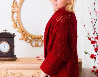 Crochet cardigan, wool cardigan, warm cardigan, crochet shrug, women crochet shrug, warm shrug, handmade cardigan, red cardigan