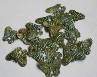 100 Butterfly Sequins/Matte Textured Green Color /Code PIS208