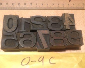 Vintage Wooden Letterpress Numbers 0-9  – mixed font antique (0-9B)
