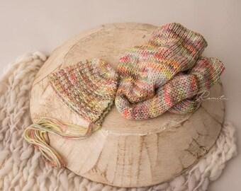Adorable newborn wrap and bonnet set photography prop
