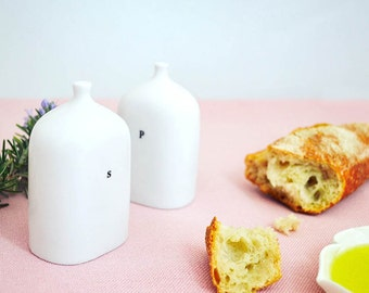 Porcelain vial salt and pepper shakers