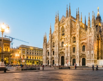 Duomo di Milano, Piazza del Duomo, Milan, Italy. Evening view. Romantic print, home decor