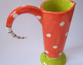 ceramic polka-dot Vase or Pitcher bright tangerine orange & chartreuse summer decor colorful pottery vessel